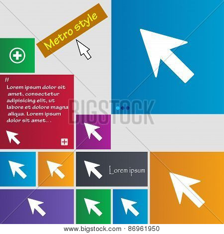 Cursor, Arrow Icon Sign. Metro Style Buttons. Modern Interface Website Buttons With Cursor Pointer.