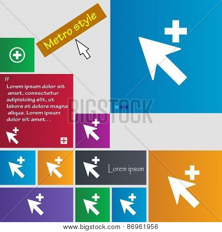 Cursor, Arrow Plus, Add Icon Sign. Metro Style Buttons. Modern Interface Website Buttons With Cursor