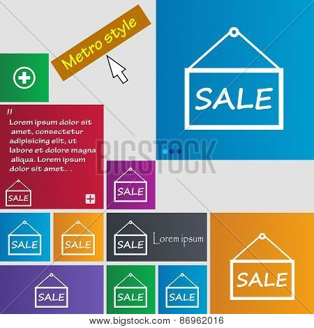 Sale Tag Icon Sign. Metro Style Buttons. Modern Interface Website Buttons With Cursor Pointer. Vecto