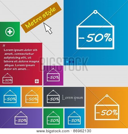 50 Discount Icon Sign. Metro Style Buttons. Modern Interface Website Buttons With Cursor Pointer. Ve