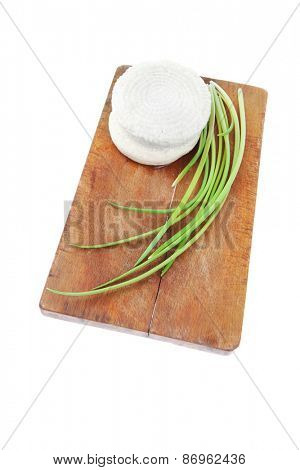 diet products : salted greek feta white cheese on wood isolated over white background