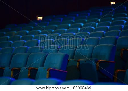 Empty Comfortable Green Seats In Theater, Cinema