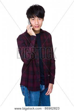 Asian man using mobile smart phone