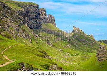 The Quiraing mountains in Scotland
