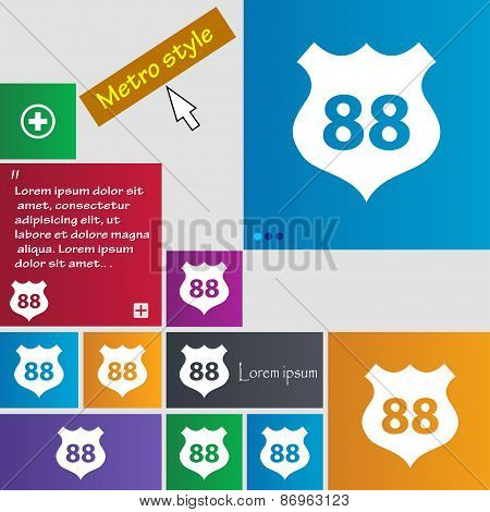 Route 88 Highway Icon Sign. Metro Style Buttons. Modern Interface Website Buttons With Cursor Pointe