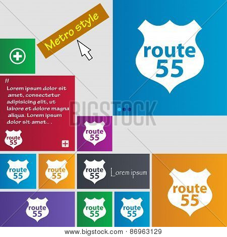 Route 55 Highway Icon Sign. Metro Style Buttons. Modern Interface Website Buttons With Cursor Pointe