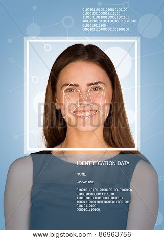 Concept of person identification. Woman looking at camera. Face with lines