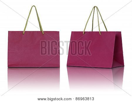 Red Paper Bag On White Background