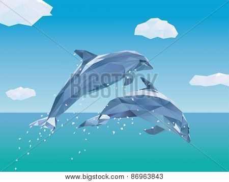 Two Low Poly Dolphins jumping out of the ocean. Vector Illustration of two Dolphins jumping from the sea, some clouds in the sky