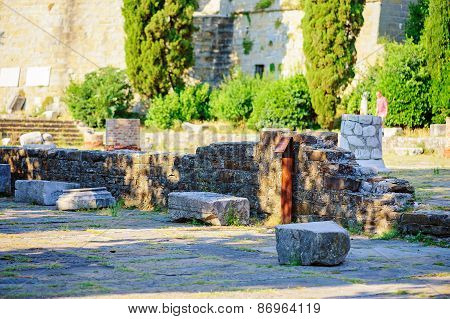 TRIESTE, ITALY - 20 JULY, 2013: roma ruins in Trieste, Italy