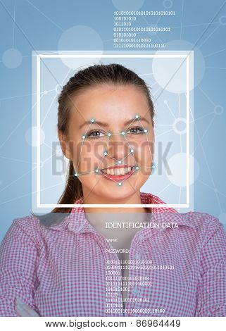 Concept of person identification. Girl face with lines