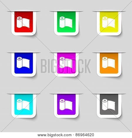 Toilet Paper, Wc Roll Icon Sign. Set Of Multicolored Modern Labels For Your Design. Vector
