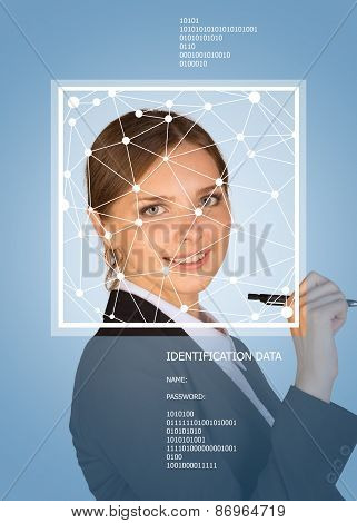 Business girl smiling. Face with lines, frame and text