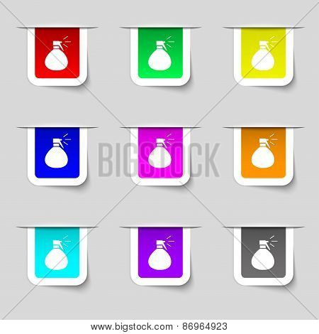 Plastic Spray Of Water Icon Sign. Set Of Multicolored Modern Labels For Your Design. Vector
