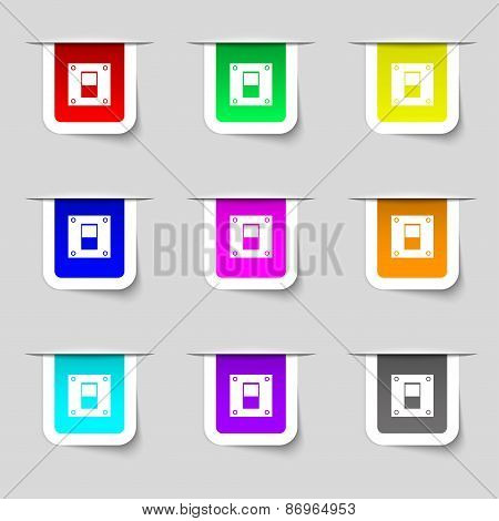 Power Switch Icon Sign. Set Of Multicolored Modern Labels For Your Design. Vector