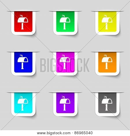 Mailbox Icon Sign. Set Of Multicolored Modern Labels For Your Design. Vector