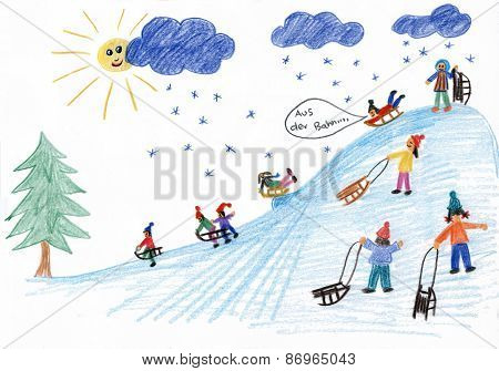 Sledding Kids On The Hill - Children Painting