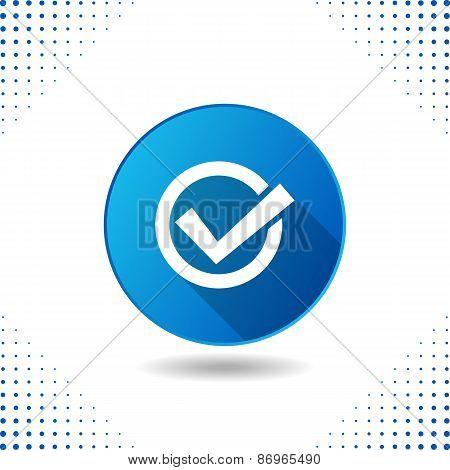 Tick Icon On Blue Button