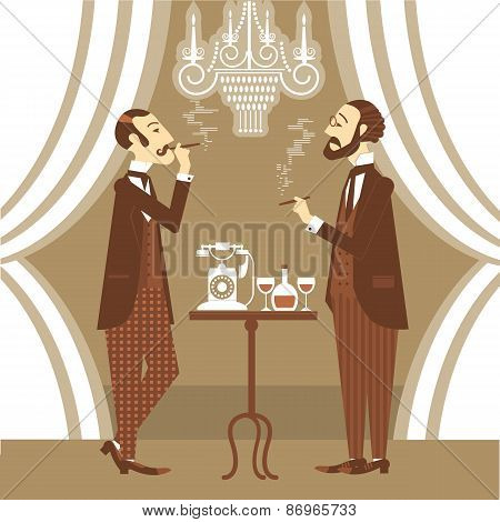 Gentlemen In Club.vector Illustration