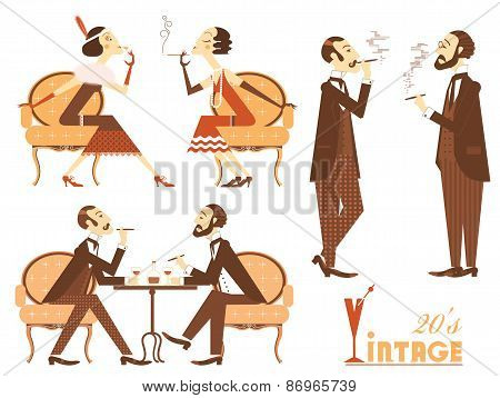 Vector Vintage People Isolated On White For Design