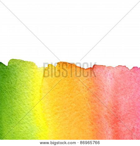 vector watercolor green, yellow, orange and pink rainbow gradient background with copy space