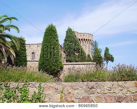 Mandelieu-La Napoule, France - September 01, 2014: Chateau de la Napule wall and tower