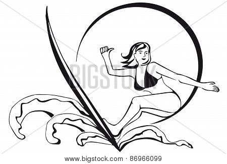 silhouette of a surfer. girl with sun.thumbs up.