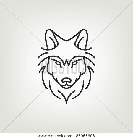 Wolf head mono line logo icon design.