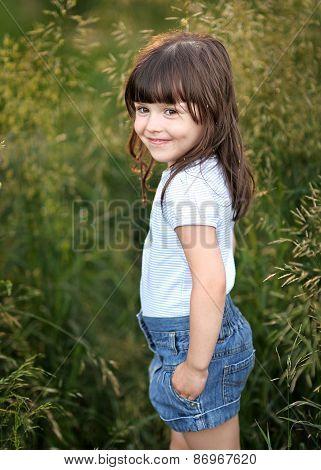 Portrait Of A Beautiful Fashion Little Girl