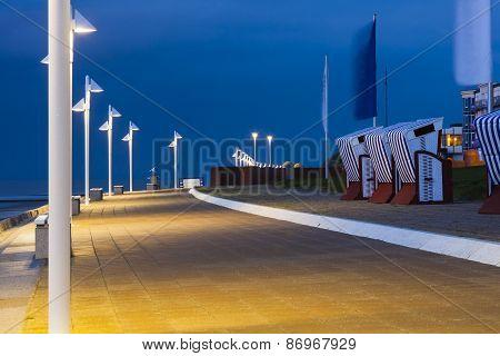 Norderney Beach Promenade At Night