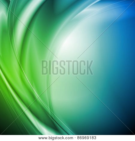 Abstract wavy green and blue background