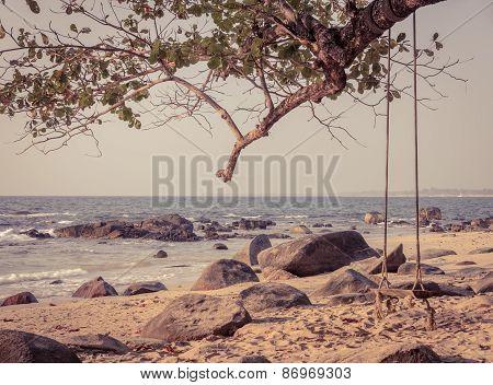 Wooden Swing On Tree At Khao Lak Beach