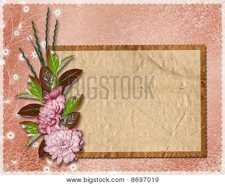 Framework For A Photo Or Congratulation. Abstract Floral Background.