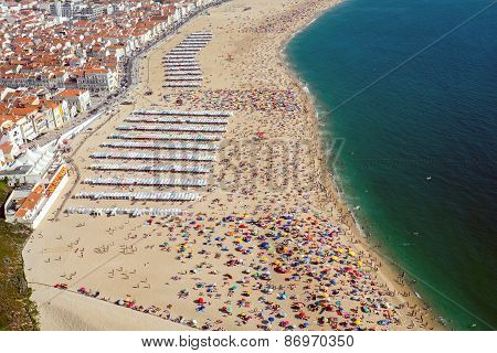 Beach life in Nazare, Portugal