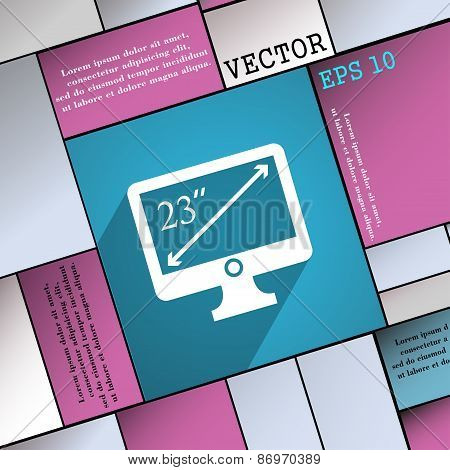 Diagonal Of The Monitor 23 Inches Icon Symbol Flat Modern Web Design With Long Shadow And Space For