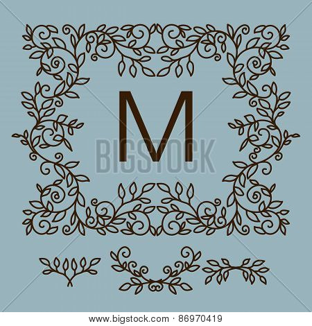 Floral  vector frame with copy space for text in trendy mono lin