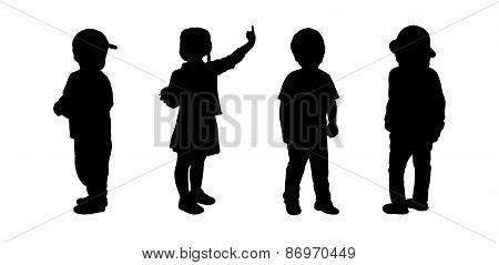 Children Standing Silhouettes Set 1