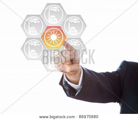 Arm In Blue Suit Pointing At Solar Energy Icon
