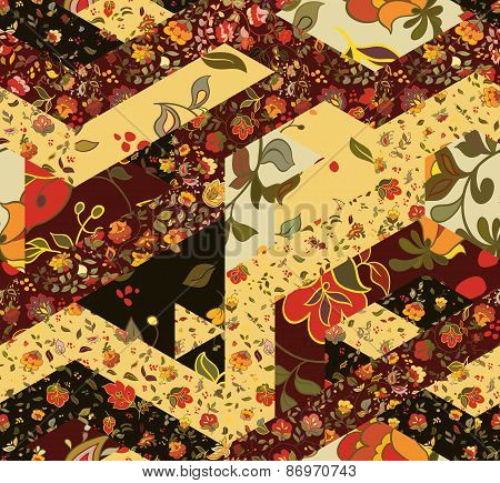 Patchwork pattern with flowers.