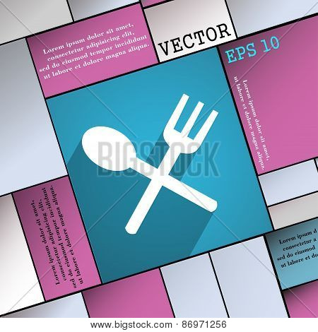 Fork And Spoon Crosswise, Cutlery, Eat Icon Symbol Flat Modern Web Design With Long Shadow And Space