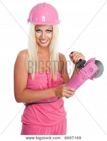 Woman With Pink Grinder