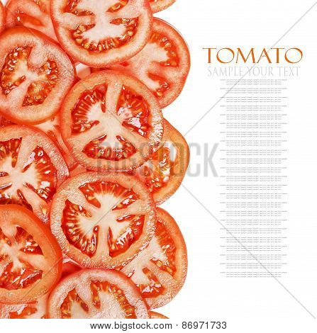 Fresh Background With Slices Of Tomato Isolated
