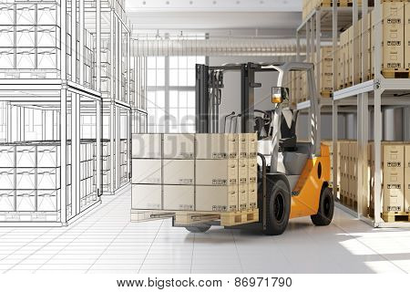 Planning of warehouse in forwarding agency from CAD mesh to 3D Rendering