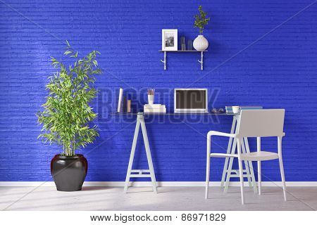 Desk with laptop computer in front of a blue wall in a home office (3D Rendering)