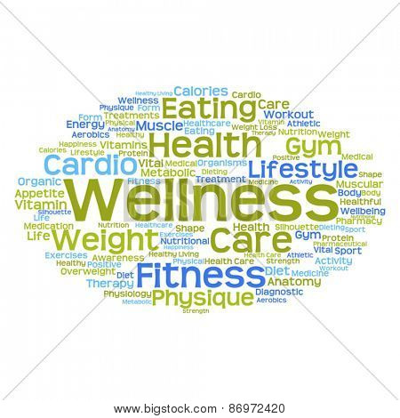 Concept or conceptual abstract health word cloud or word cloud on white background