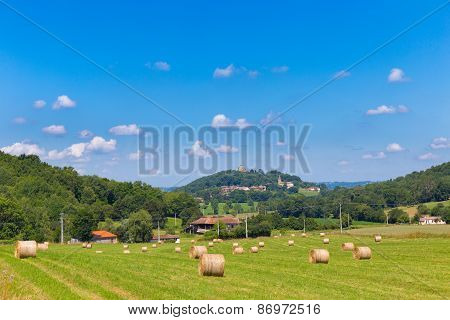 Round Bales Of Hay On French Farmland
