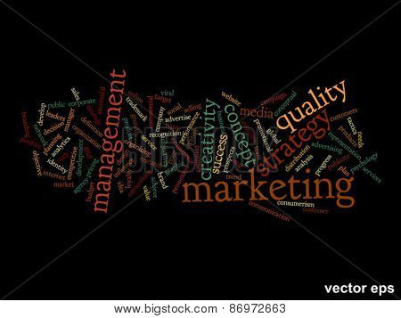 Vector concept or conceptual abstract success or marketing word cloud or word cloud isolated on background