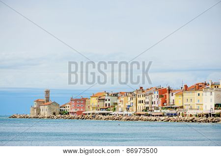 PIRAN, SLOVENIA - 15 JULY 2013: city and sea view in summer
