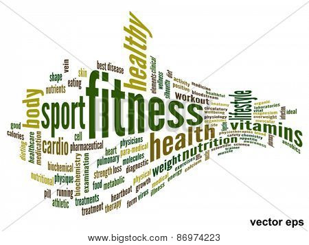 Vector eps concept or conceptual 3D abstract fitness and health word cloud or word cloud on white background