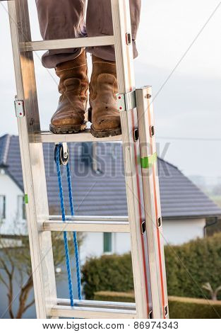 craftsman on a ladder at the house, icon crafts, home improvement, safety, career